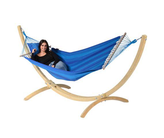 RiippumattoYhdellä Jalustalla 'Wood & Relax' Blue