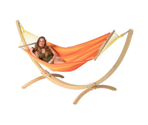 RiippumattoYhdellä Jalustalla 'Wood & Relax' Orange