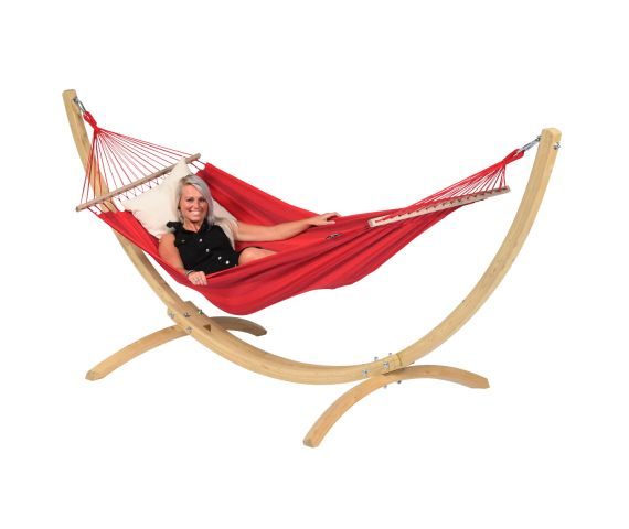 RiippumattoYhdellä Jalustalla 'Wood & Relax' Red