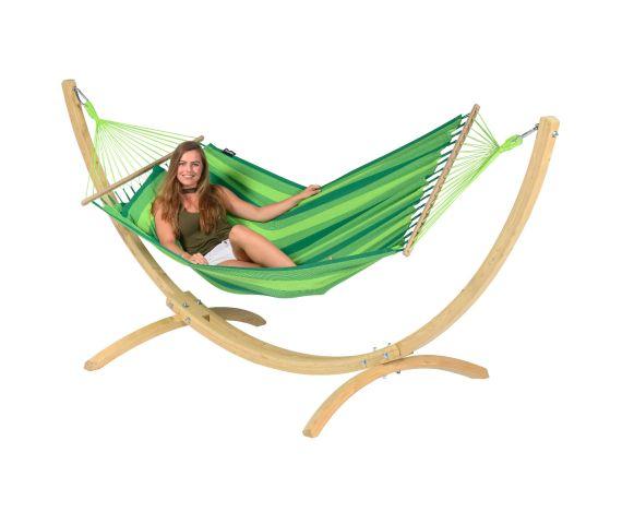 RiippumattoYhdellä Jalustalla 'Wood & Relax' Green